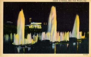 NY - New York World's Fair, 1939. Lagoon of Nations Fountains at Night
