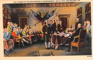 Colonial Post Card Old Vintage Antique Postcard Signing of the Declaration of...