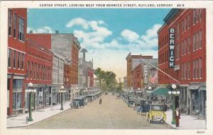 Vermont Rutland Center Street Looking West From Berwick Street Curteich