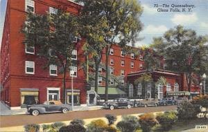 Glens Falls New York~The Queensbury Hotel~1940s Cars~Linen Postcard