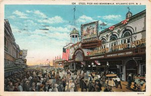 Steel Pier and Boardwalk, Atlantic City, N.J., Early Postcard, Used in 1931