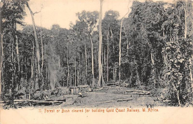 Ghana Gold Coast forest cleared for building railway postcard