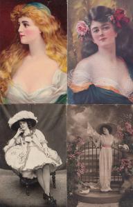 Glamour 4x Old & WW1 Fashion Postcard s