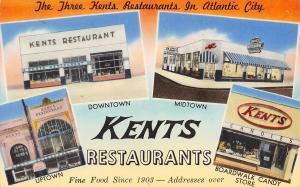 Atlantic City NJ~Kents Restaurants~Up Mid Down Town~Boardwalk Candy Store~1950s