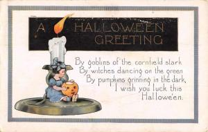 Halloween Greeting Tiny Girl Candle Jack O Lantern Whitney Postcard K100245
