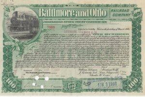BALTIMORE & Ohio RAILROAD Certificate , 1900