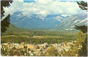 View of the Township of Banff from Tunnel Mountain, Alberta, AB, Canada, Chrome