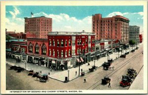 Macon, Georgia Postcard Intersection of Second and Cherry Streets 1930s Unused