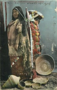 American Native Piute Indian Woman and Papoose