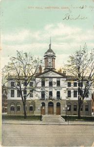 Hartford Connecticut~City Hall~Clock Tower~Lampposts 1909 Postcard