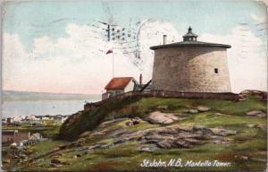 Martello Tower St. John NB New Brunswick c1907 Antique Postcard D62