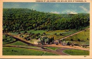 Virginia Panorama Crossing Of Lee Highway and Skyline Drive 1937