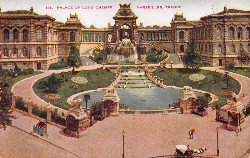 Palace of Long Champs, Marseilles, France, Early Postcard, Unused