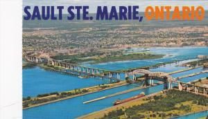 A Bird's-eye view of the American & Canadian Locks,  Sault Ste. Marie,  Ontar...