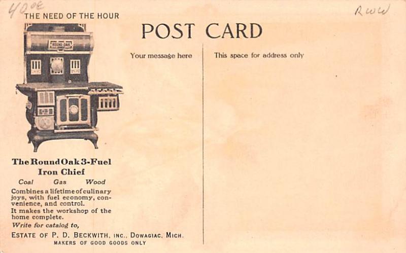Hardware Advertising Old Vintage Antique Post Card Doe Wah Jack, Round Oak Ir...