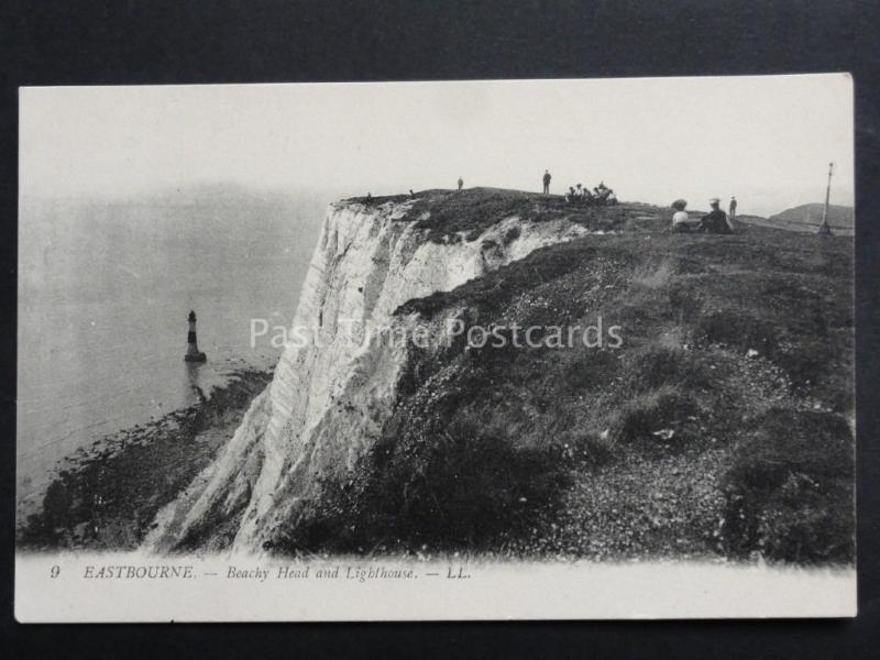 Sussex: LL.9 EASTBOURNE Beachy Head & Lighthouse shows People & Picnics c1905