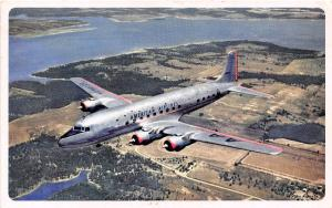 DC-7 American Airlines Plane Aircraft 1950 postcard