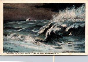 Virginia Beach near Norfolk VA Storm Atlantic Ocean Postcard unused 1915-30s