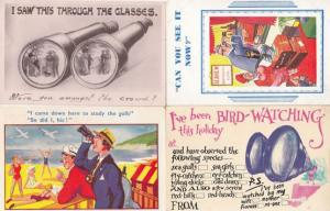 Bird Watching Peeping Tom With Binoculars 4x Antique & 1950s Comic Postcard s