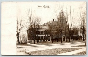 Napoleon Ohio~Union School~Nearly Destroyed by Fire~Marked Ruins X~1908 RPPC