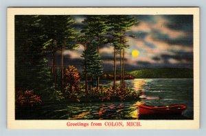 Colon MI, Scenic Greetings, Lake, Moon, Night, Michigan, Linen Postcard Z58