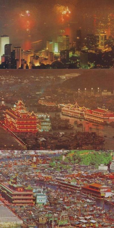Aberdeen & Night Scene In City 3 Asian Hong Kong Illumuninations Photo Postcard