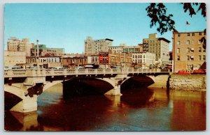 Cedar Rapids Iowa~Skyline~Newman's Department Store~Montgomery Ward~1950s Cars