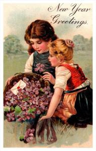 20259  New Year  peasant girls, basket of flowers
