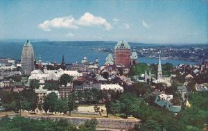 Canada Quebec La Cite View Of Upper Town Overlooking The Saint Lawrence