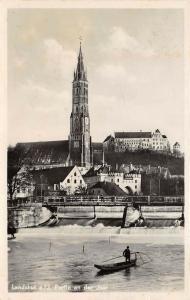 Landshut Bavaria Germany 1938 RPPC Real Photo Postcard Church on Isar River