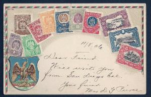 MEXICO stamps on card embossed postcard used c1906