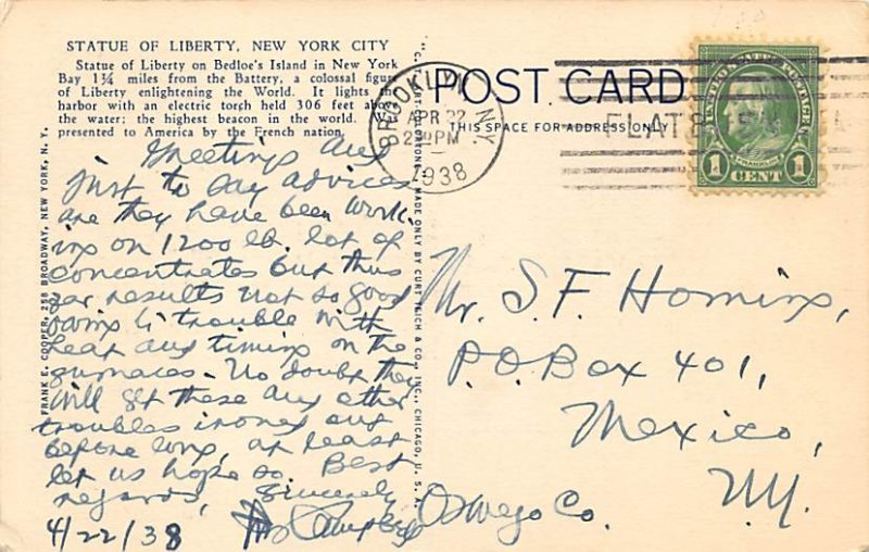 Statue of Liberty Post Card New York City, USA 1938