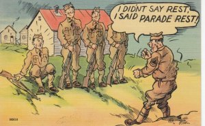 MILITARY COMIC, PU-1943; Soldier sitting on grass, Sergeant yelling at him