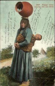 Papago Native Indian Woman Carrying Pottery & Baby c1905 Postcard