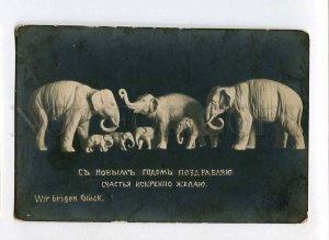 3075096 Happy ELEPHANT Figures Vintage PHOTO New Year