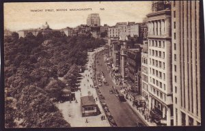 P1460 1943 used postcard birds eye view tremont st boston mass old cars park