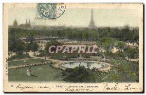 Old Postcard Paris Tuileries Garden Eiffel Tower