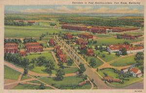 Fort Knox Kentucky Entrance to Post Headquarters 1950s Vintage Postcard