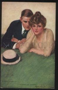 101398 Lovers on Grass by UNDERWOOD vintage R&N #775 PC