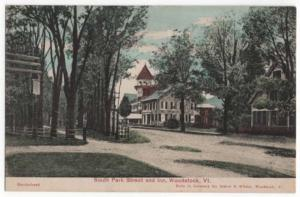 Woodstock, Vermont, Early View of South Park Street and Inn