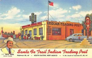 South Raton NM Santa Fe Trail Indian Trading Post Curt Teich Postcard