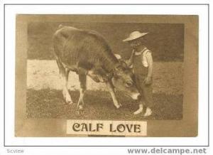 Little Boy Wearing Overalls Petting Calf,Calf Love,1910