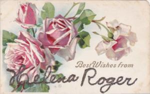 Best Wishes From Helena Roger With Pink Roses
