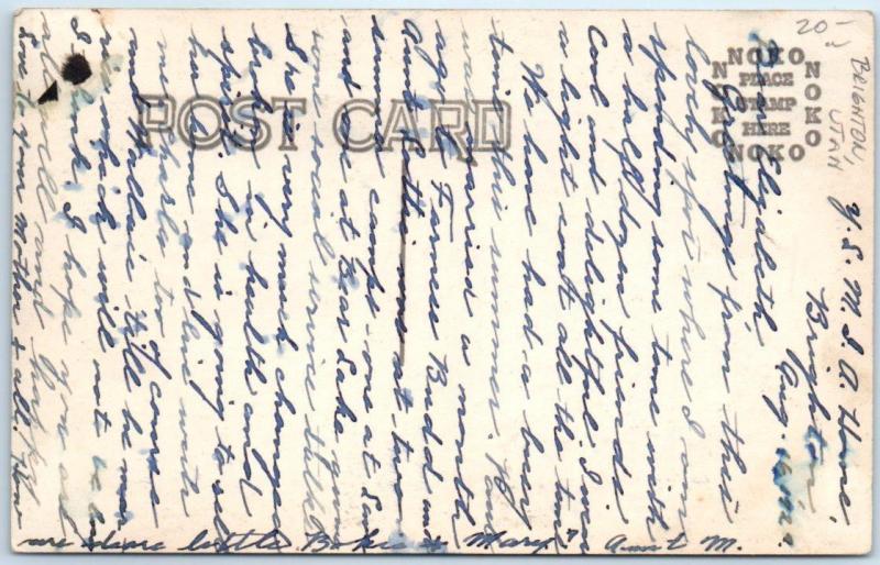 RPPC BRIGHTON, Utah UT LDS GIRLS CAMP 1924 Rustic Camp