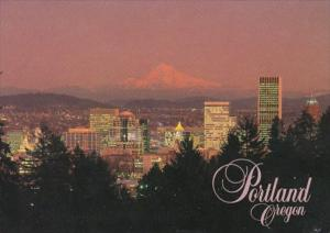 Oregon Portland Skyline and Mt Hood At Sunset 1985