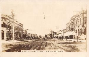 Ida Grove Iowa~West Second Street~Dirt Road~Barber Shop~Ice Cream~1909 RPPC