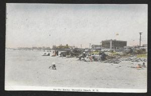 Beach View People On the Rocks Hampton Beach New Hampshire Used c1910s