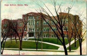 Vintage 1910s BELOIT, Wisconsin Postcard HIGH SCHOOL Building View - Unused