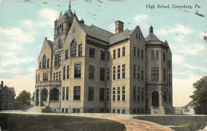 Greensburg Pennsylvania~Senior High School~Neighboring Houses~1910 Postcard