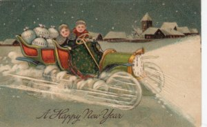 NEW YEAR, 1910 ; Kids in an Car full of Money in snow # 3 , PFB 9502